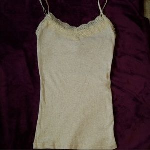 New condition oatmeal heather lace cami